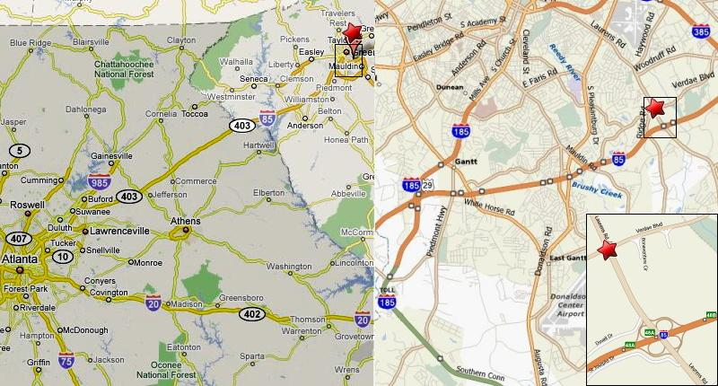 Map To Greenville, SC